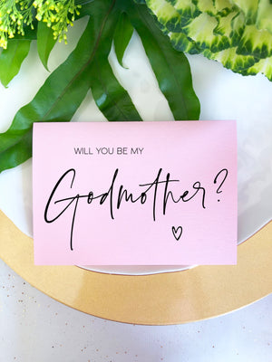 "Blush Pink ""Will You Be My Godmother"" Godparent Baptism Card"