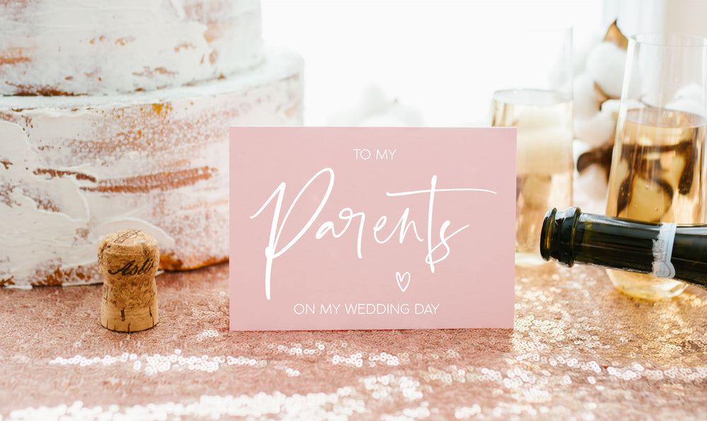 "Blush Pink ""To My Parents on My Wedding Day"" Card From Bride and Groom"