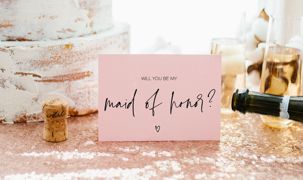 Pink Maid of Honor Proposal Card