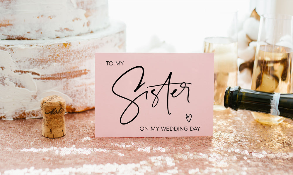 Blush Pink To My Sister On My Wedding Day Card Bridesmaid Wedding Card