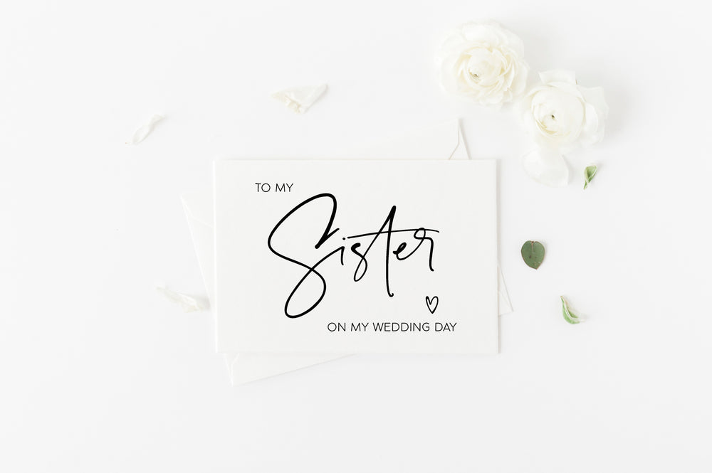 To My Sister On My Wedding Day Card Bridesmaid Wedding Card