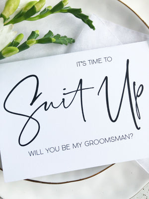 Modern weding its time to suit up will you be my groomsman card