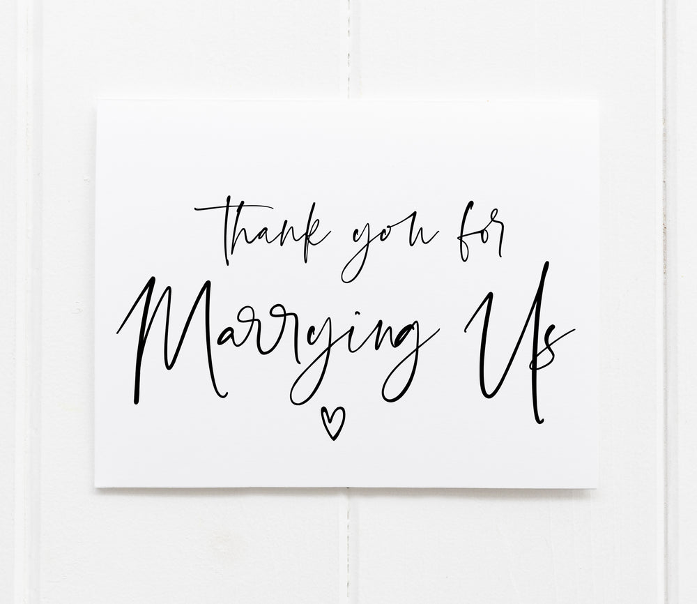 """Thank You For Marrying Us"" Thank You Card for Wedding Officiant"