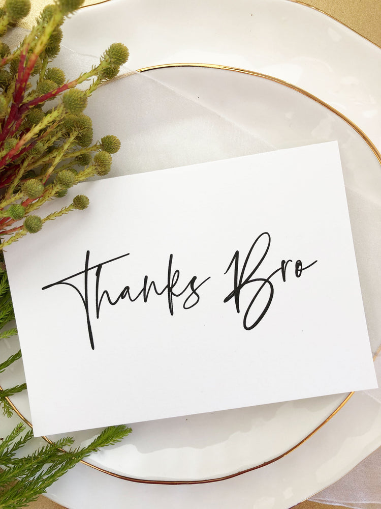 """Thanks Bro"" Wedding Party Thank You Gift, Groomsman Card"
