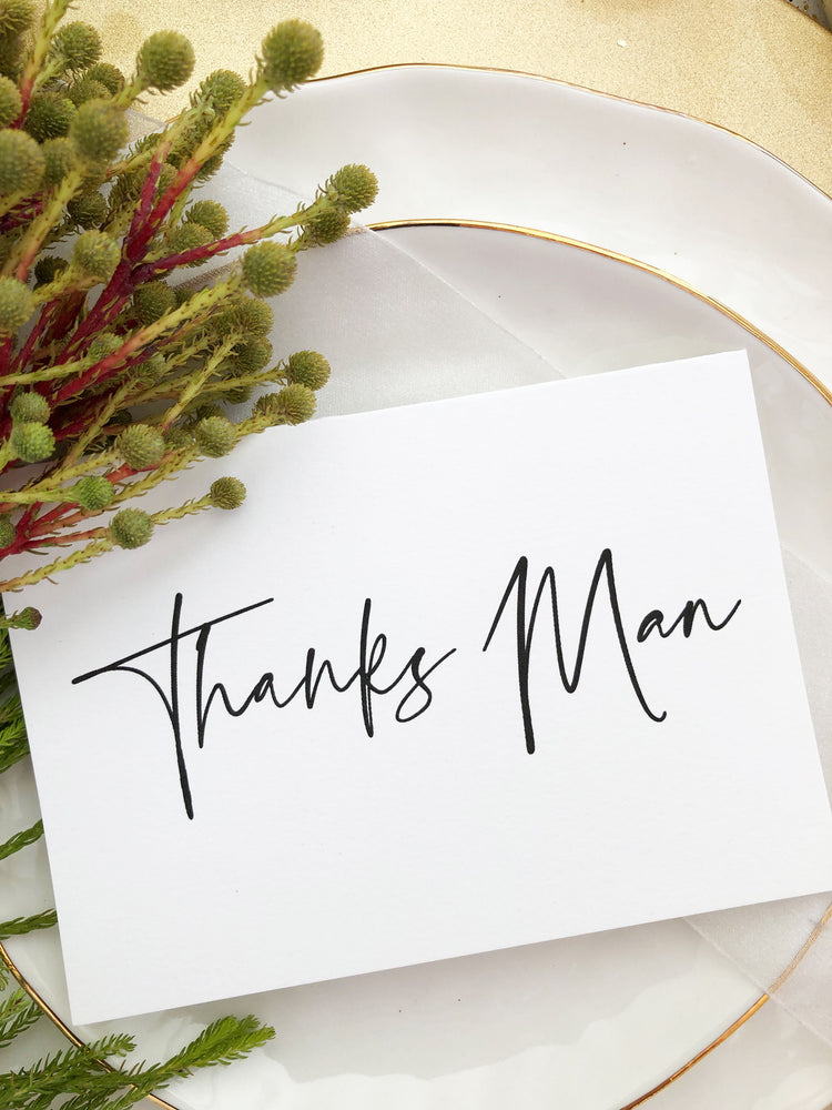 """Thanks Man"" Bridal Party Gift Best Man or Groomsman Wedding Card"
