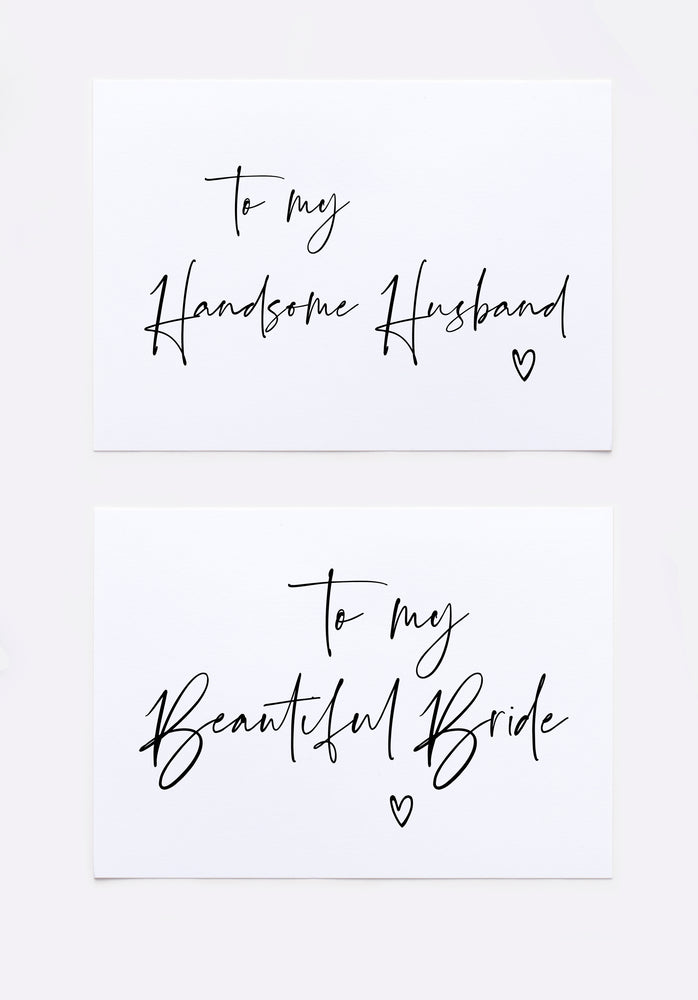 "Load image into Gallery viewer, ""To My Beautiful Bride on Our Wedding Day"" Card from Groom for Bride"