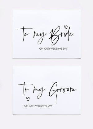 Bride and groom wedding day cards
