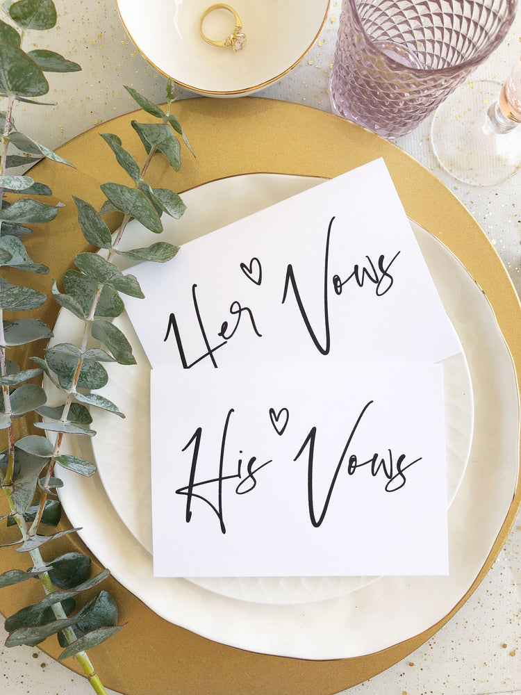 """His & Her Vows"" Modern Wedding Vow Keepsake Card Set"