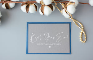 Grey and White Best Year Ever Happy Anniversary Card