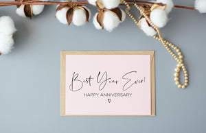 Blush Pink Best Year Ever Happy Anniversary Card