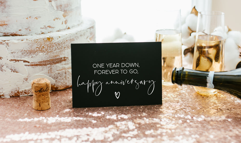 Black and White Wedding anniversary card