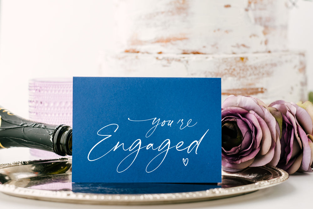 blue congratulations You're engaged wedding card