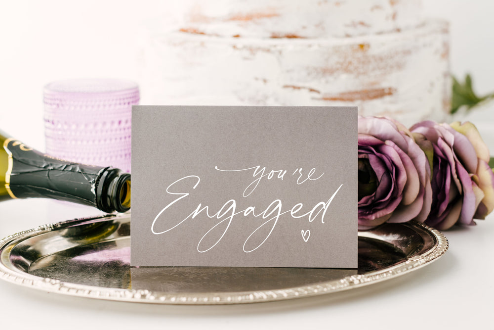 grey congratulations you're engaged wedding card