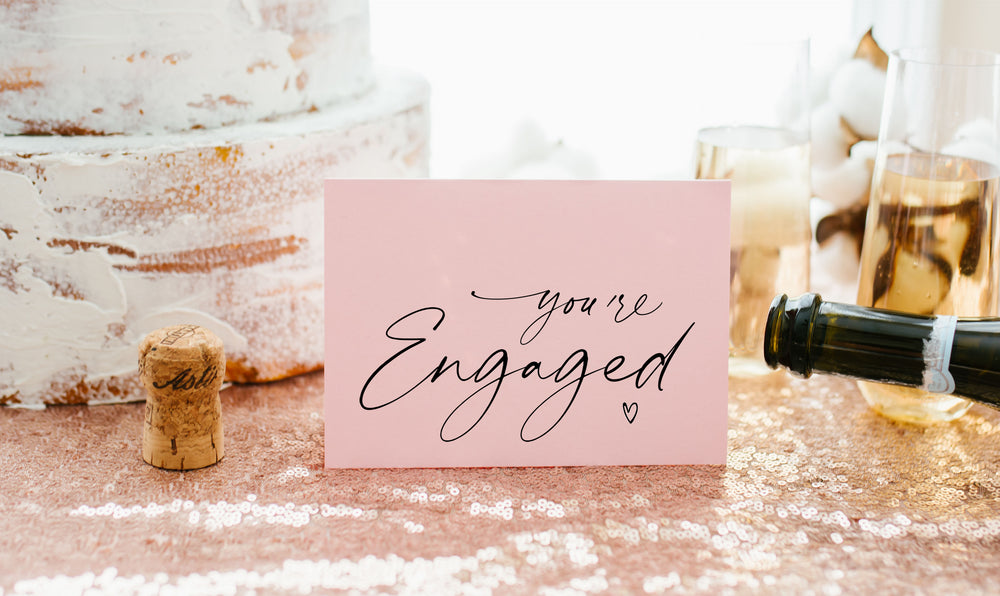 Pink You're engaged heart congratulations card