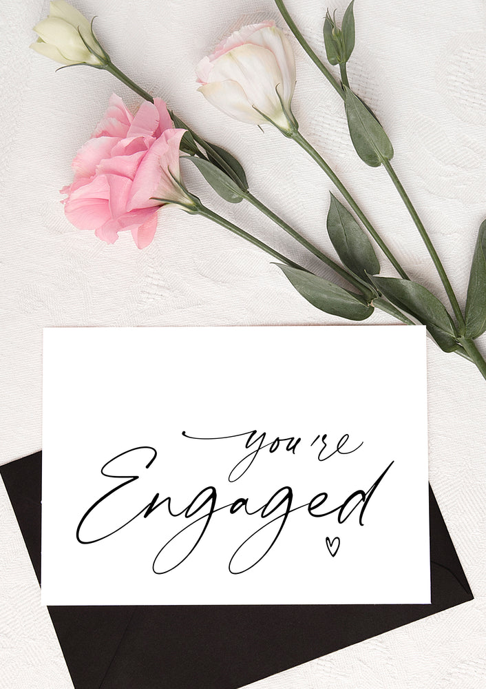 you're engaged heart wedding congratulations card for friends