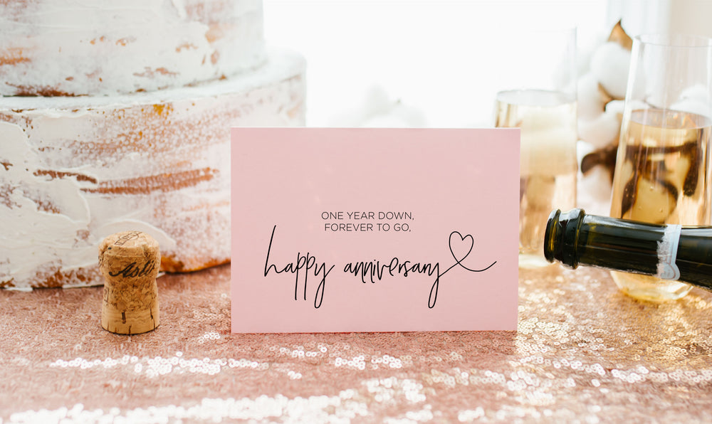 Pink First Anniversary Card