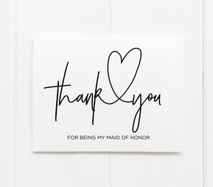 """Thank You For Being My Maid Of Honor"" Thank You Card"