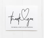 Wedding Thank You Card gift for bridal party