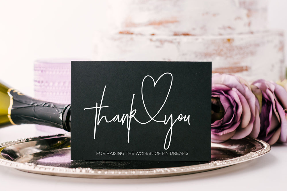 Black and White Thank You For Raising The Woman Of My Dreams Card for Mother & Father of The Bride