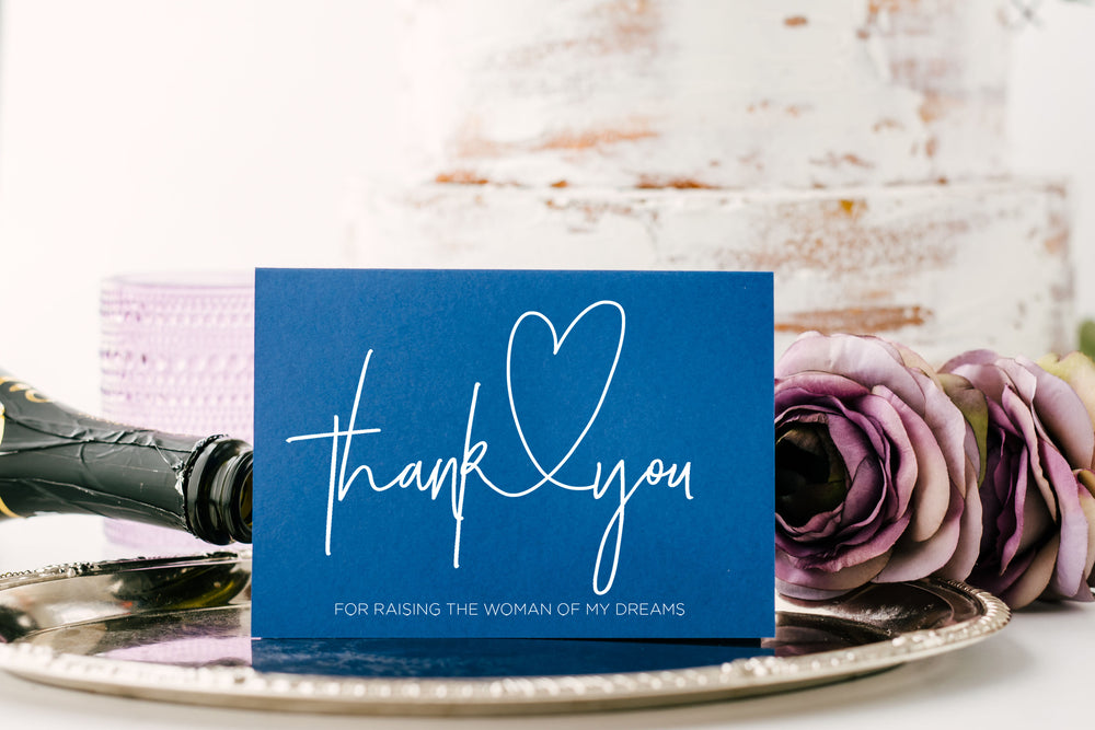 Blue and White Thank You For Raising The Woman Of My Dreams Card for Mother & Father of The Bride