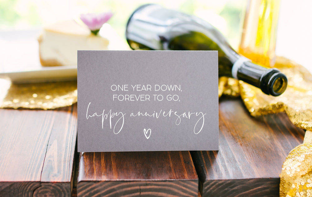 grey first wedding anniversary card
