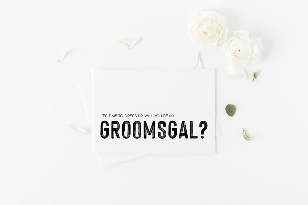 Will You be My Groomsgal Bridal party proposal card.