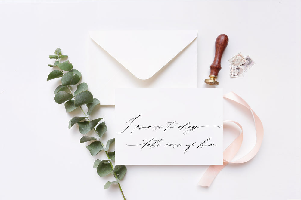 "Load image into Gallery viewer, Calligraphy ""I Promise to Always Take Care of Him"" Wedding Day Card for Parents in Law"