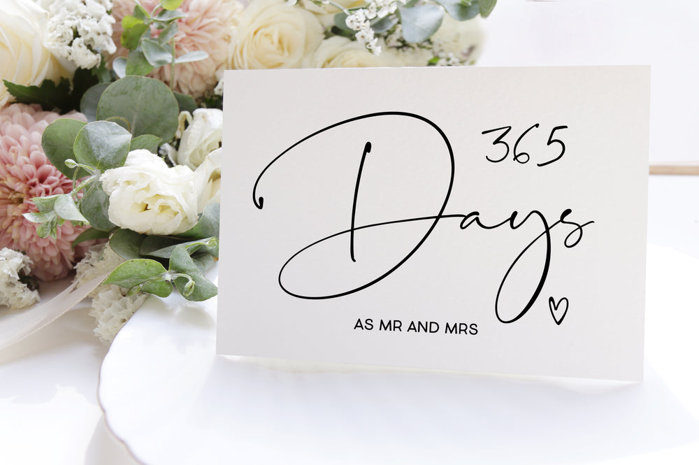 365 days as Mr and Mrs First Anniversary Card