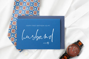 Load image into Gallery viewer, Husband Birthday Keepsake Card, First Birthday as My Husband Blue