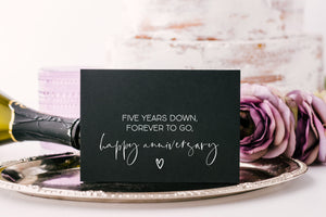 Black Fifth Anniversary card for Husband