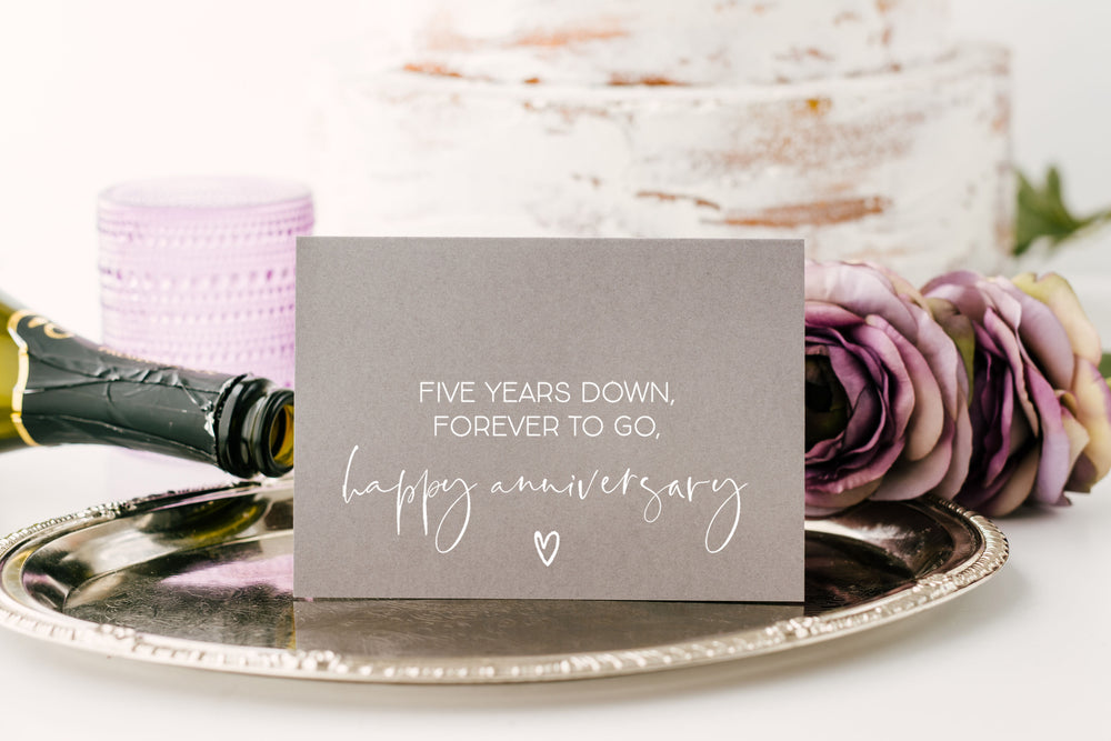 Five Year Anniversary Grey Card