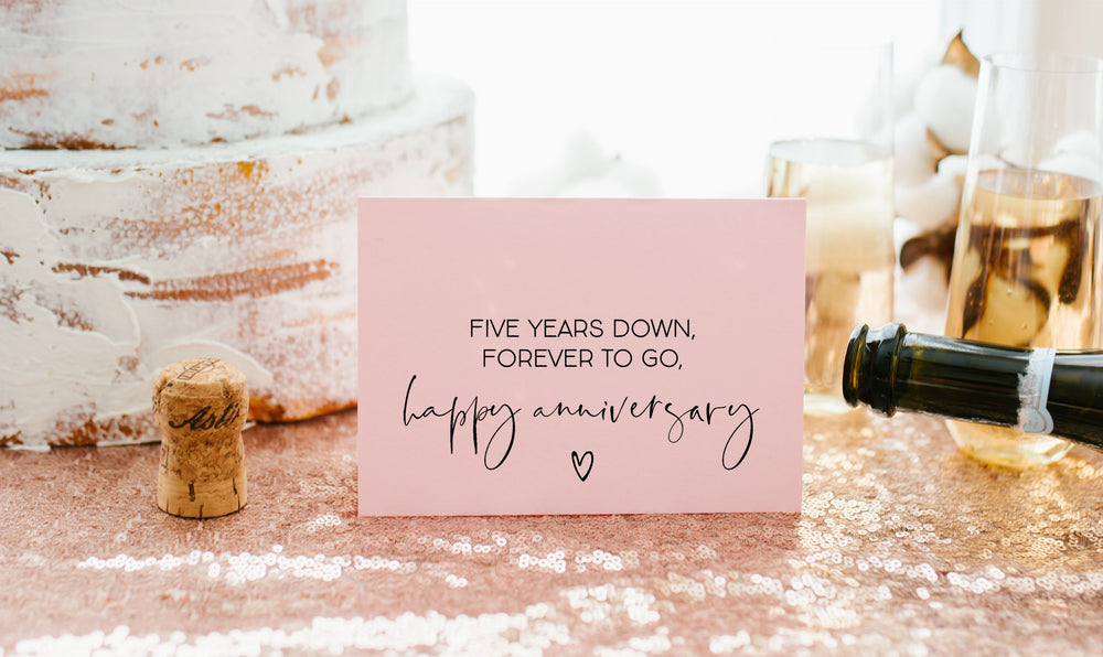 Pink 5 Year Anniversary Card for Her