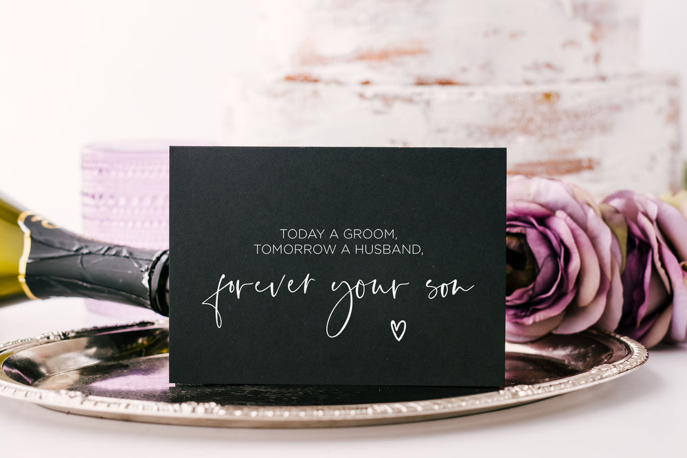 Black Forever your son wedding card