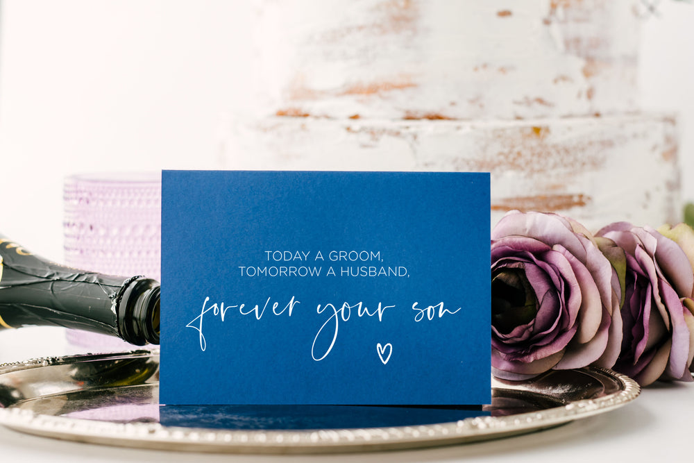 Blue and White Forever Your Son Wedding Day Card for Grooms Mom