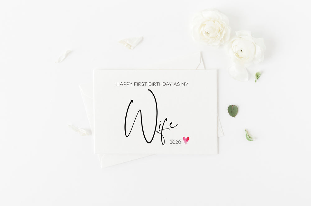 Cute Happy First Birthday as My Wife Card