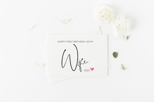 Load image into Gallery viewer, Cute Happy First Birthday as My Wife Card