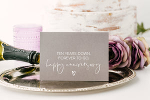 Grey 10 Years Happy Anniversary Card