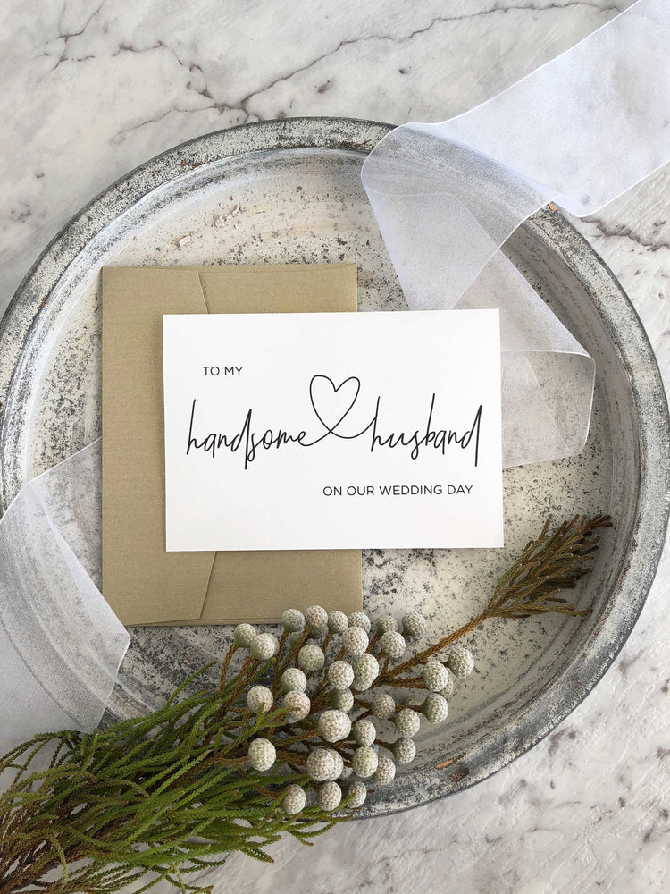 """To My Handsome Husband on Our Wedding Day"" Groom Gift From Bride"