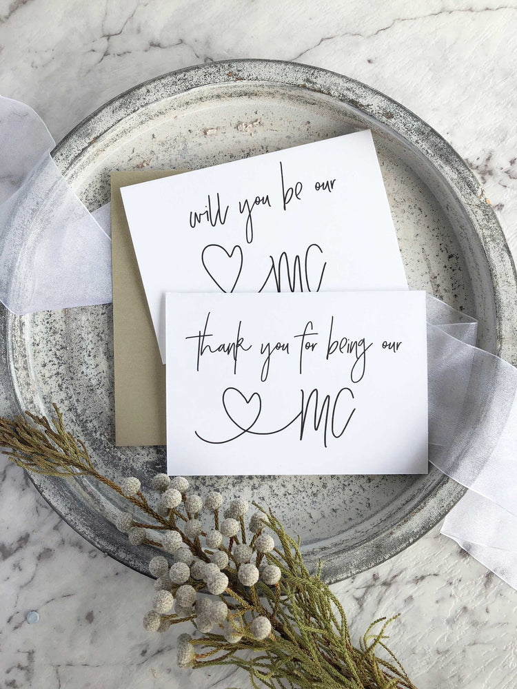 """Will You Be Our MC?"" Master of Ceremonies Wedding Card"