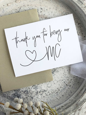 Black and White Master of Ceremonies Wedding Party Thank You Gift