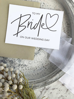 "Load image into Gallery viewer, ""To My Bride on Our Wedding Day"" Card for Bride From Groom"
