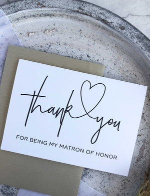 Matron of Honour Thank You Card