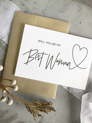 """Will You Be Our Best Woman"" Proposal Card"