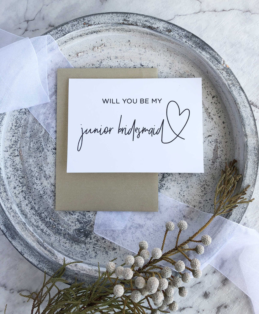 """Will You Be My Junior Bridesmaid"" Proposal Card"