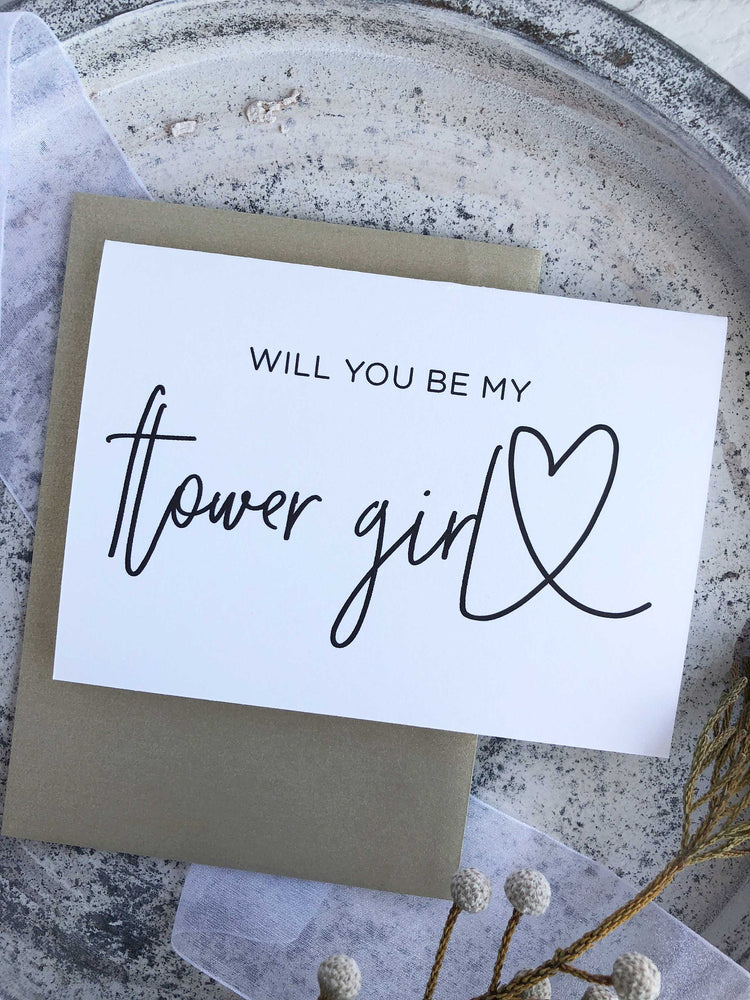 """Will You Be My Flower Girl"" Wedding Card"