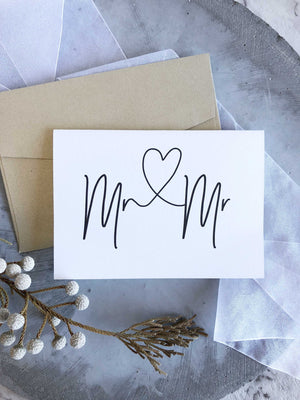 Mr and Mr Wedding day Congratulations card for friends