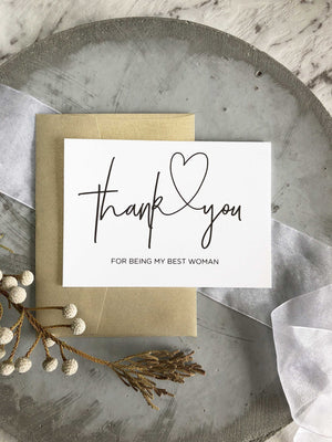 """Thank You for Being my Best Woman"" Wedding Bridal Party Card"