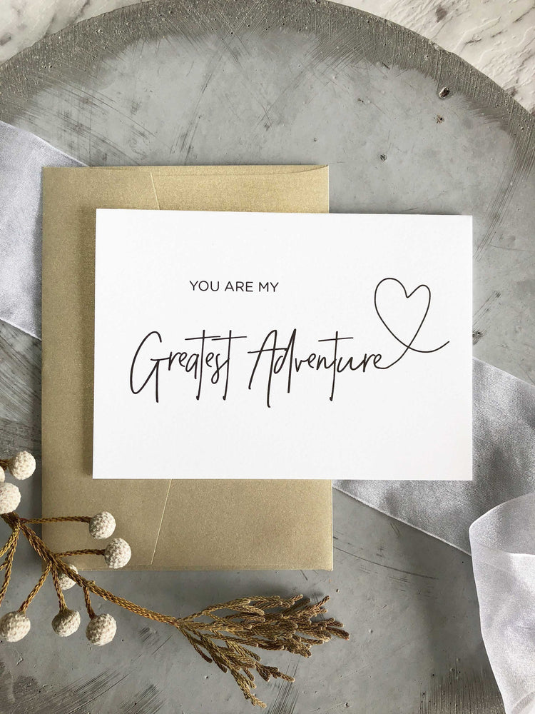 """You Are My Greatest Adventure"" Wedding Card"