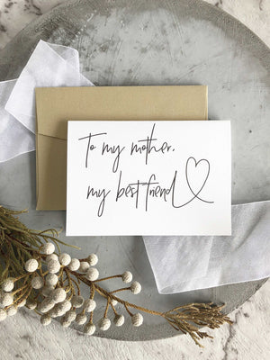 To My Mother My Best Friend Card Mom of The Bride or Groom Gift
