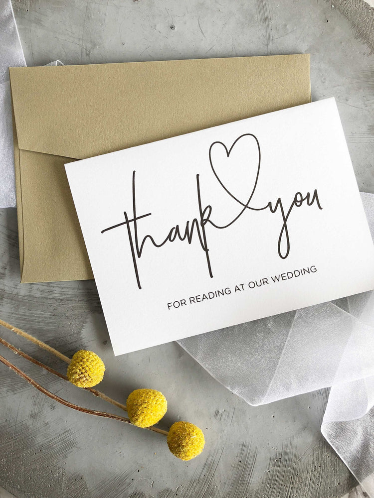 """Thank You for Reading at our Wedding Card"" Bridal Party Gift"